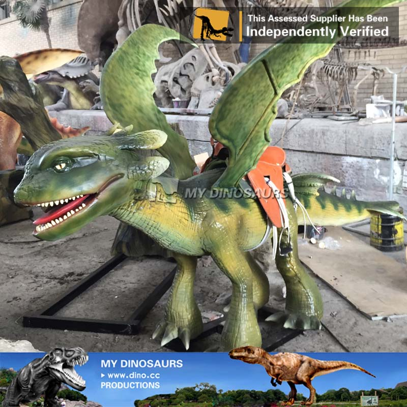 Coin Operated Robotic Dragon Ride For Shopping Mall