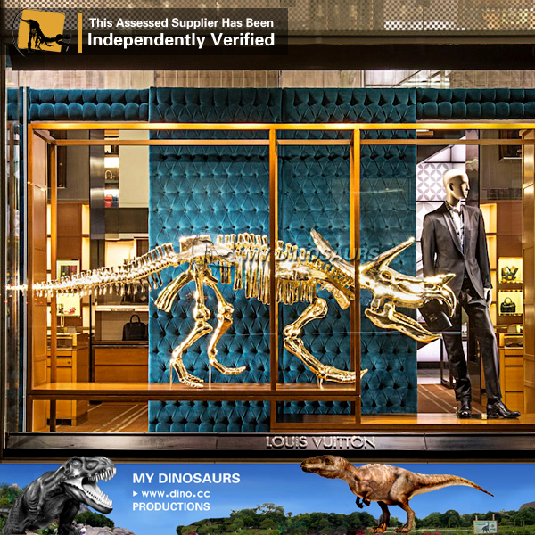 Showcase Decoration Golden Dinosaur Skeleton for Sale
