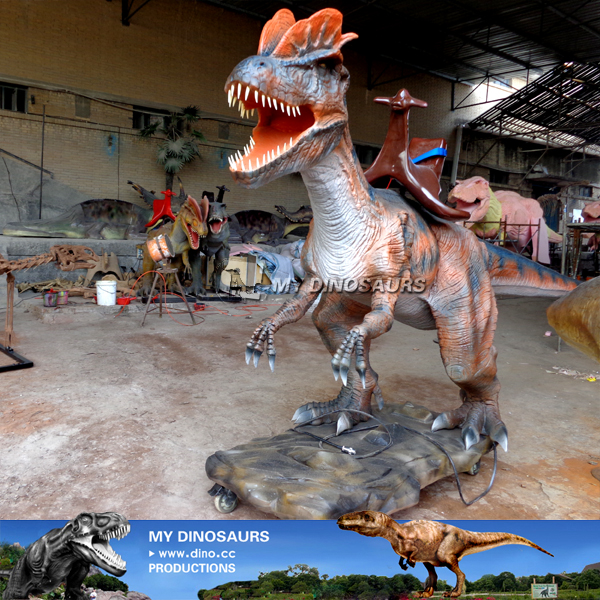 Kids Park Animatronic Mechanical Dinosaur Ride Dilophosaurus
