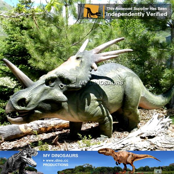 Amusement Park Life Size Fiberglass Dinosaur Of Styracosaurus