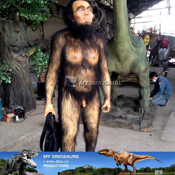 Life Size Realistic Animatronic Cave Man For Museum