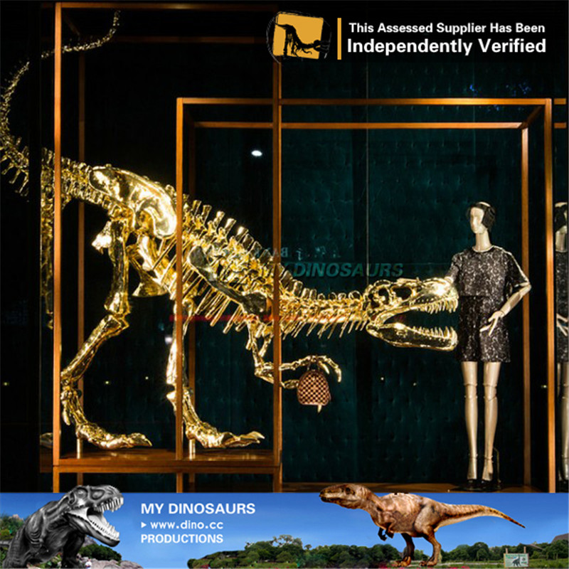 luxury Gloden Dinosaur Skeleton For Shopping Mall