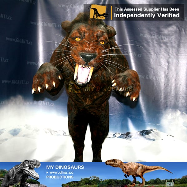 prehistorical ice age animal exhibtion real size robotic smilodon