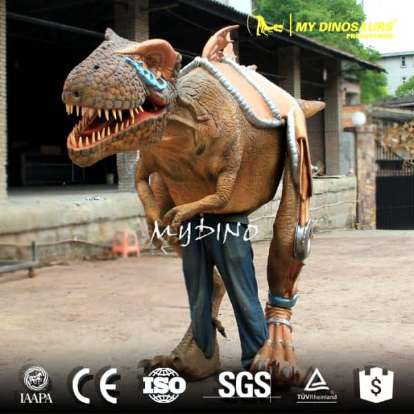 Dinosaur costume walking
