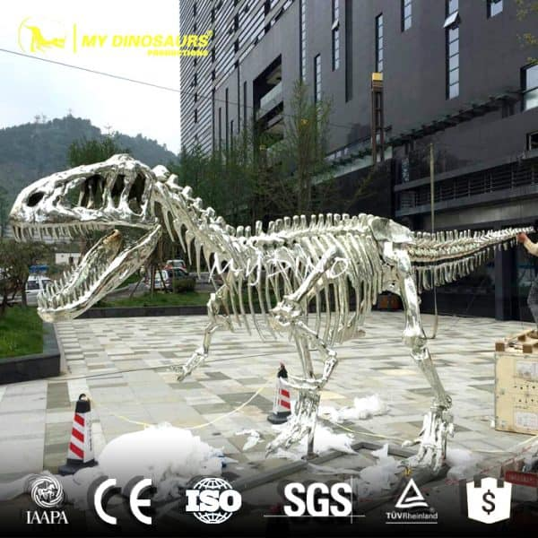 home decoration silver dinosaur skeleton
