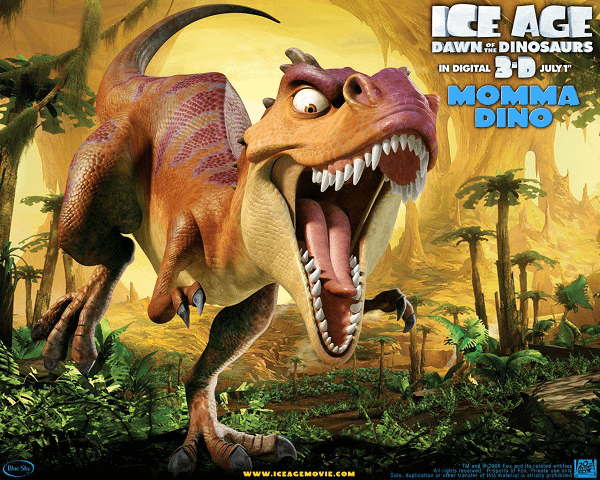 4. Ice Age: Dawn of the Dinosaurs  Ice Age: Dawn of the Dinosaurs is a 2009 American computer-animated comedy adventure film.  It is the third installment in the Ice Age series and the sequel to Ice Age.  At the beginning of the story, Sid begins to wish for a family of his own and 'adopts' three  apparently abandoned eggs that he finds in an icy underground cavern and he refused to put  them back, which hatch into baby Tyrannosaurus the next morning. The rest story has Sid being taken by a female Tyrannosaurus, the dinosaur mom, leading the rest  of the herd to rescue him in a tropical lost world inhabited by dinosaurs beneath the ice. Despite receiving mixed reviews from critics, it ranked at the time as the second-highest-grossing animated film of all time, and the highest-grossing Ice Age film.