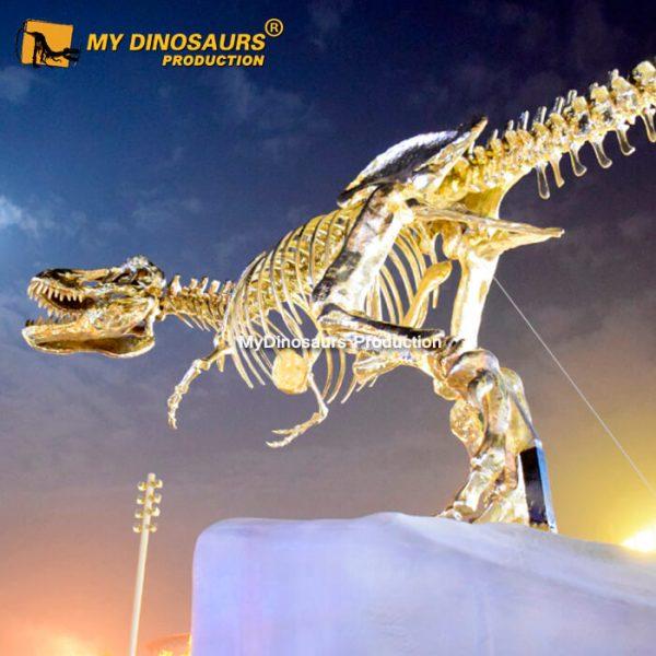 Golden dinosaur skeleton