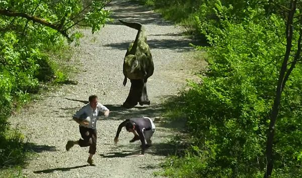 dinosaur chase prank
