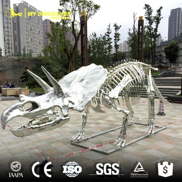 silver dinosaur skeleton