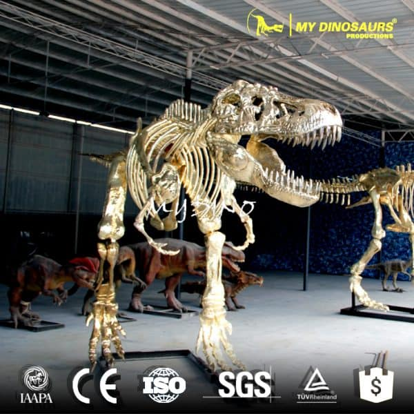 golden dinosaur skeleton replica