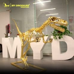 Gold dinosaur skeleton