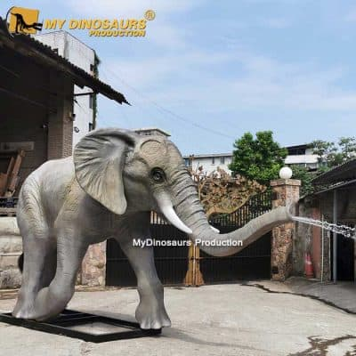 Baby elephant spray water