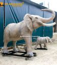 Robotic elephant with baby