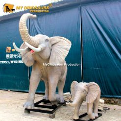 Robotic elephant with baby 2