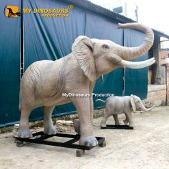 Robotic elephant with baby